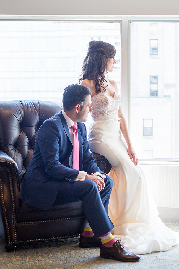 Bride and Groom at One King West Hotel